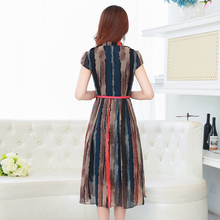Free Shipping 2017 New Spring Summer Chiffon Dress Fashionable Long Section Plus Size Slim Short Sleeved Striped Fashion