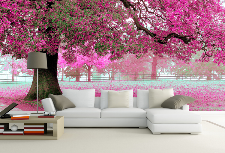 A large mural tv background wall waterproof wallpaper for Cherry blossom wallpaper mural