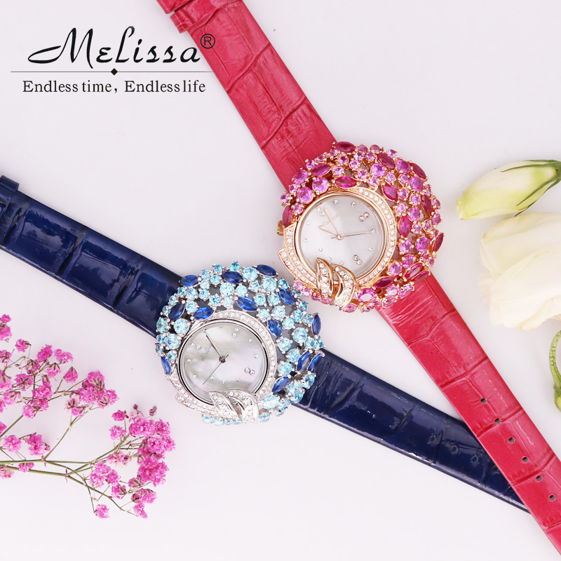 Luxury Mother-of-pearl Melissa Lady Womens Watch Rhinestone Crystal Fashion Hours Leather Bracelet Clock Flower Girls Gift BoxLuxury Mother-of-pearl Melissa Lady Womens Watch Rhinestone Crystal Fashion Hours Leather Bracelet Clock Flower Girls Gift Box