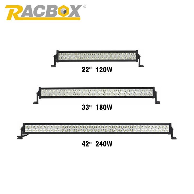 Prix pour Racbox OffRoad LED Light Bar 22 pouces 32 pouces 42 pouces 120 W 180 W 240 W 6000 K Spot Flood Combo Faisceau Pour Jeep SUV Yacht