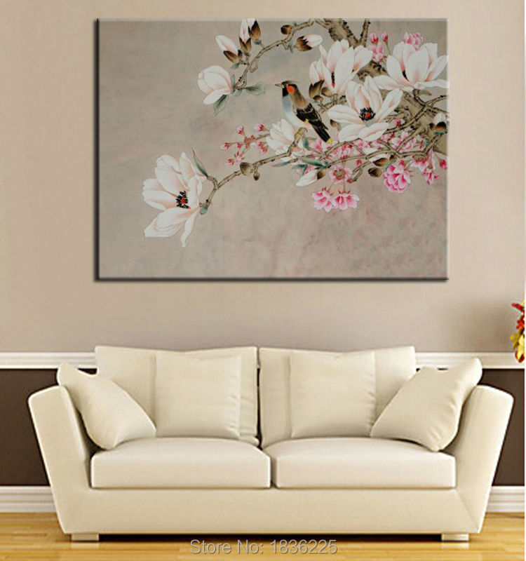 White flower canvas oil painting flower painting parrot birds on white flower canvas oil painting flower painting parrot birds on magnolia flower oil painting decoration flower bedrooms wall in painting calligraphy from mightylinksfo
