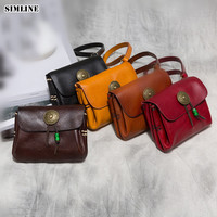 SIMLINE Genuine Leather Wallet Women Cowhide Vintage Casual Handmade Short Wallets Purse Small Clutch Bag Clutches For Female