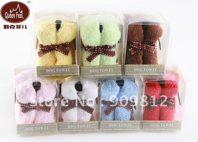 10pcs/lot Free Shipping Dog Style Gift Cake Towel Wedding  Birthday Gifts 30*30cm 7 color 55g
