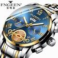 Мужские часы FNGEEN  брендовые Модные Роскошные наручные часы с турбийоном  Кварцевые водонепроницаемые часы из стали  Неавтоматические часы ...