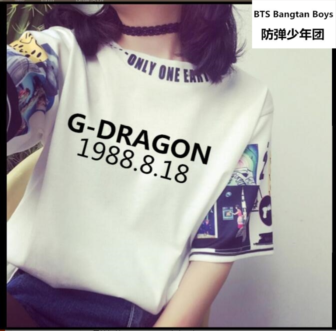 2017 new kpop BIGBANG G-DRAGON Short sleeves Exclusive personal birthday Digital cartoon expression GD T-shirt for men and women