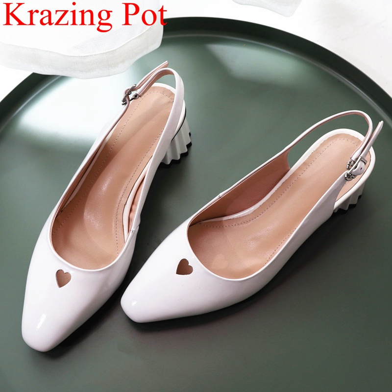 купить 2018 fashion cow leather strange style women sandals square toe shallow love elegant concise sweet office lady Autumn shoes L85 по цене 3422 рублей