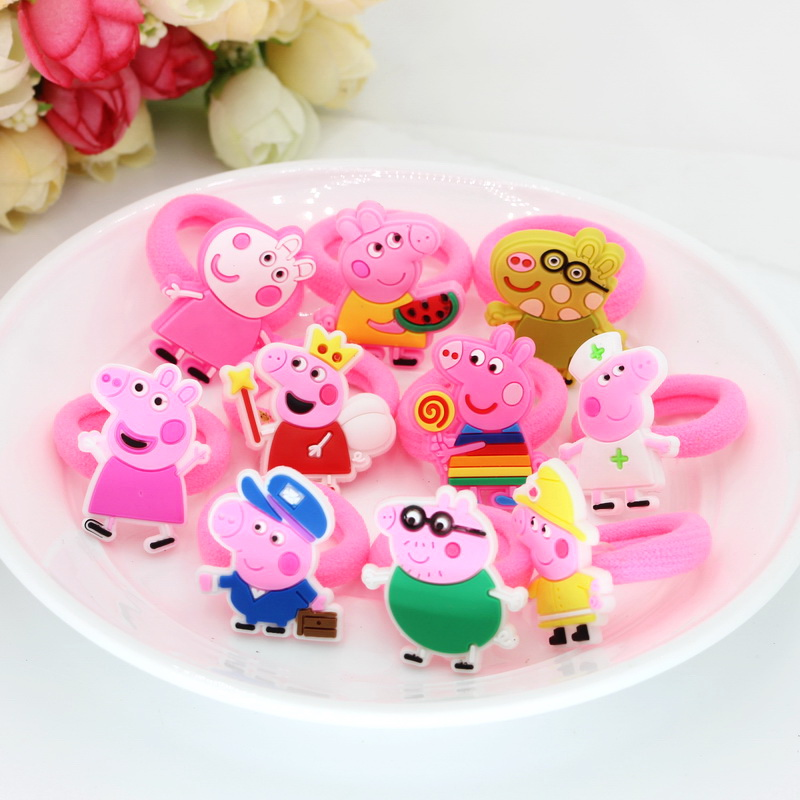 10pcs Diameter 3cm Fashion Elastic Hair Bands Rubber Headbands Soft Fabric Cartoon Girls Headwear Children Hair accessories peppa pig daddy