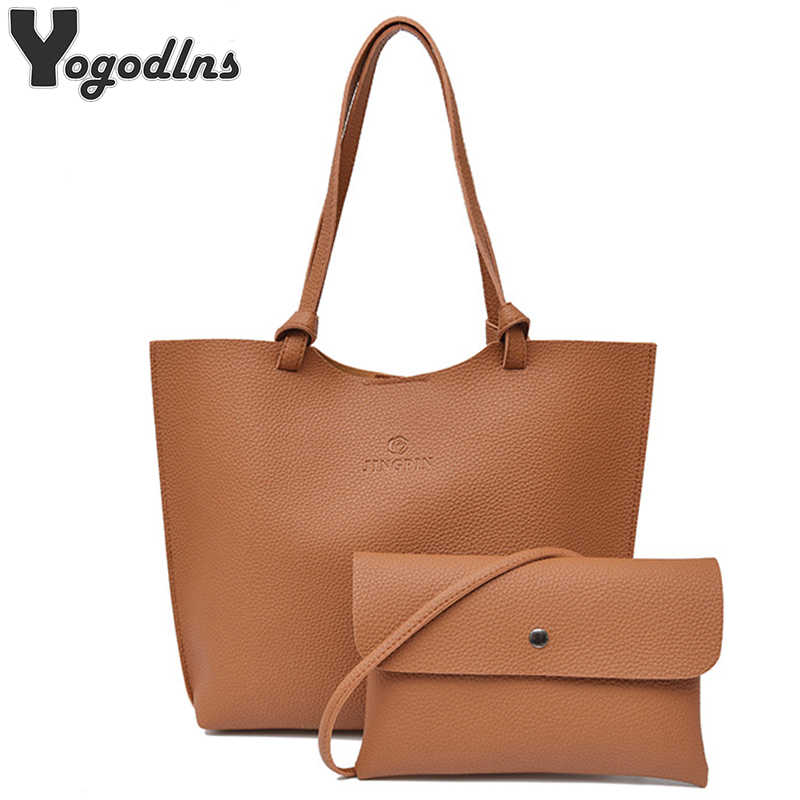 2019 New Fashion 2 Bags Set for Women Leather Handbag Messenger Bags Female Crossbody Bags High Quality Ladies Bags