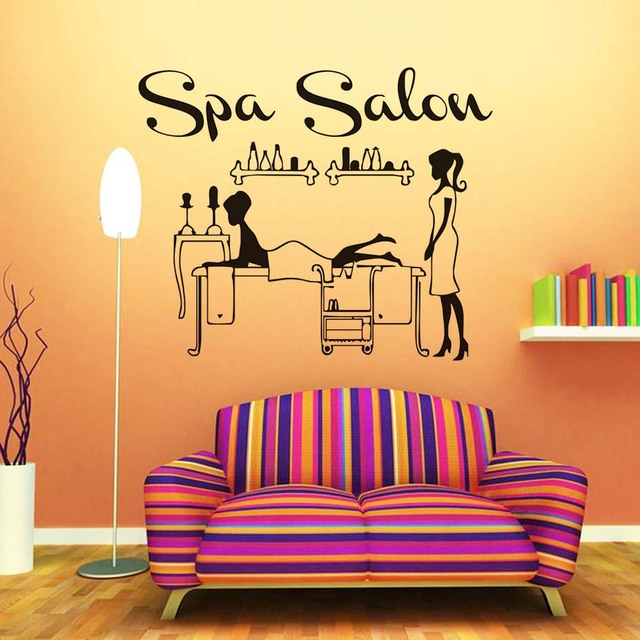 Spa Salon Shop Decals Man Doing Message Vinyl Wall Stickers Home Decor Living  Room Decals Waterproof