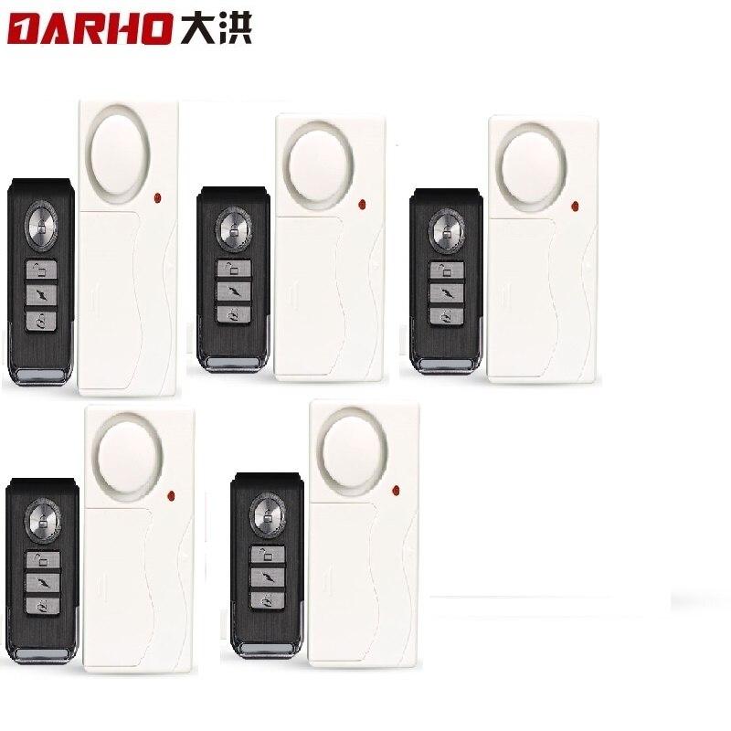 Darho 5 pièces/ensemble sécurité à domicile porte fenêtre sirène capteur magnétique alarme système d'avertissement sans fil télécommande porte détecteur