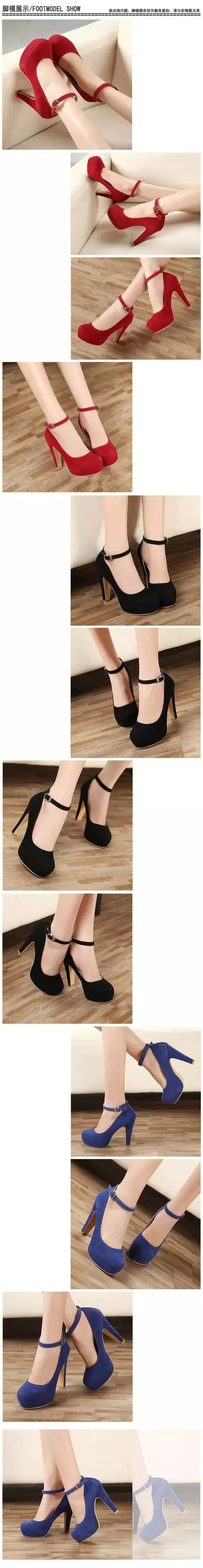 2018 woman Pumps autumn thick heel shoes ol high-heeled shoes female the trend of ultra high heels female shoes 8