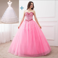 In Stock Ball Gown Quinceanera Dresses Sweetheart Spaking Beads Party Gowns Formal Vestidos Long Prom Dresses