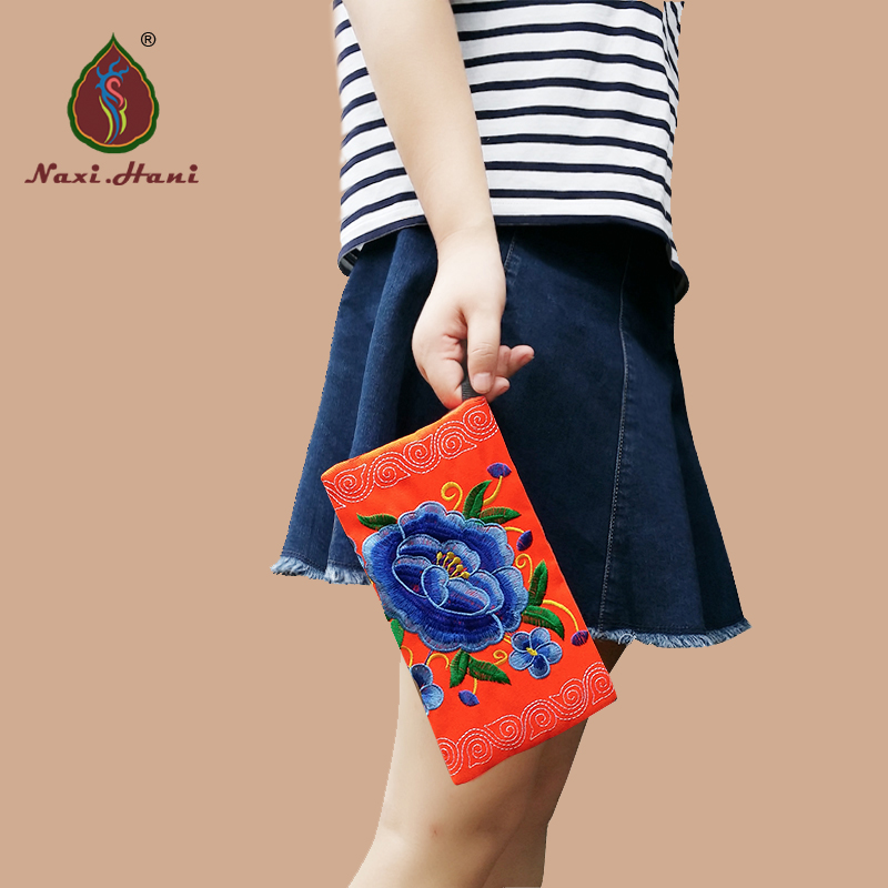 7 colors ethnic embroidery small clutches bags Vintage fashion women phone pocket / Coin Purses