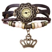 Reloj Mujer Cheap Quartz Watches Women Fashion Leather Weave Bracelet Watch Womens Dress Clock Crown Pendant Wrist Watch Relogio