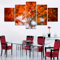 5 Piece Hot Sell Modern Wall Painting Maple Leaves Home Decor Wall Art Canvas Scenery Art Picture Paint On Canvas Prints Gift