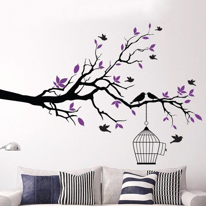 Tree Branch With Bird Cage Vinyl Wall Art Birds Sticker