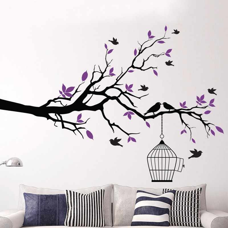 Tree Branch Birdies Wall Sticker Home Quotes Inspirational Love MS297VC