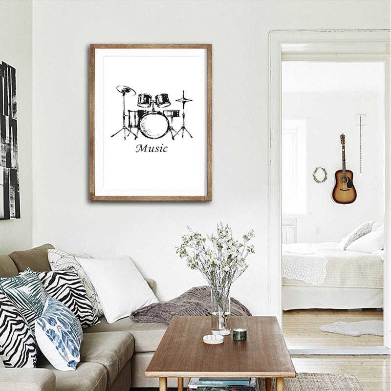 Минималистичный музыкальный инструмент холст художественный Принт плакат, барабанный набор настенная живопись для украшения гостиной, граффити домашний декор