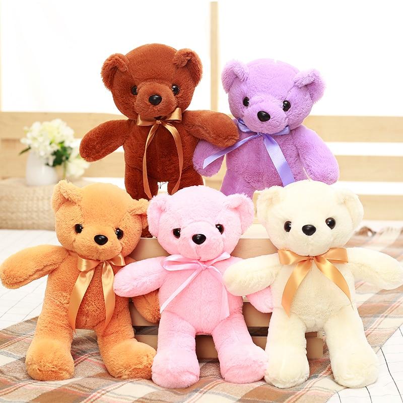 1pcs 35CM 5color Kawaii Bowtie Teddy Bear Fluffy and soft Plush Toy kids Dolls Stuffed Toy