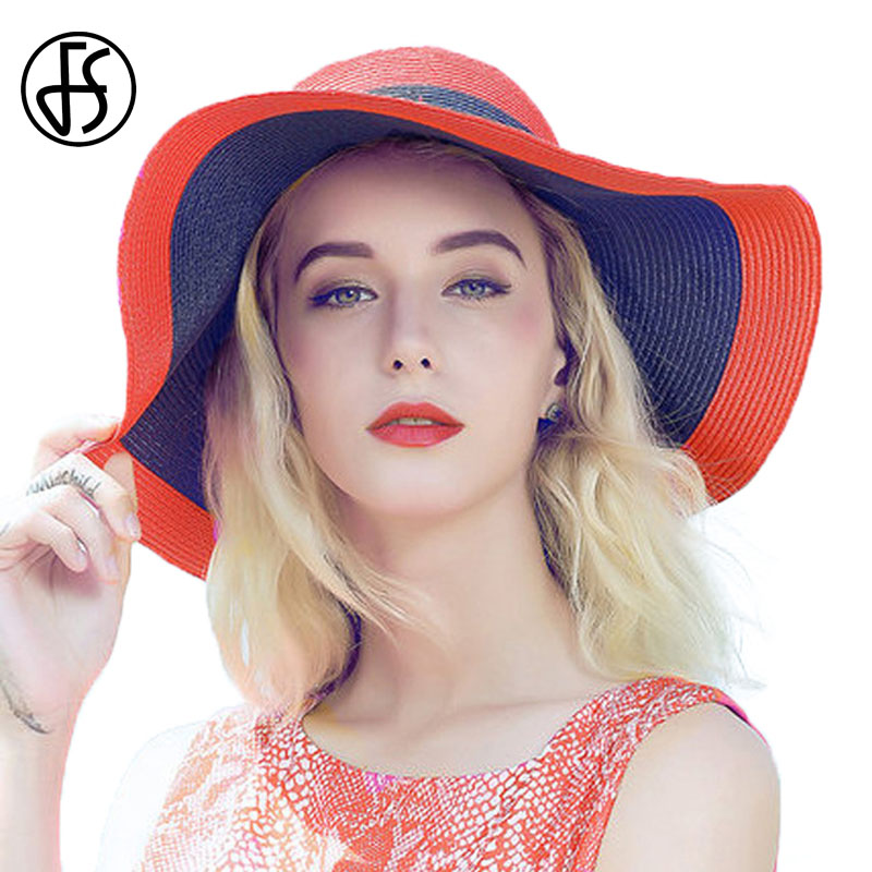 FS New Summer Hat For Women Large Wide Brim Red Blue Straw Hats Fashion  Ribbon Beach Ladies Elegant Uv Protect Floppy Sun Cap 10c3e787af1