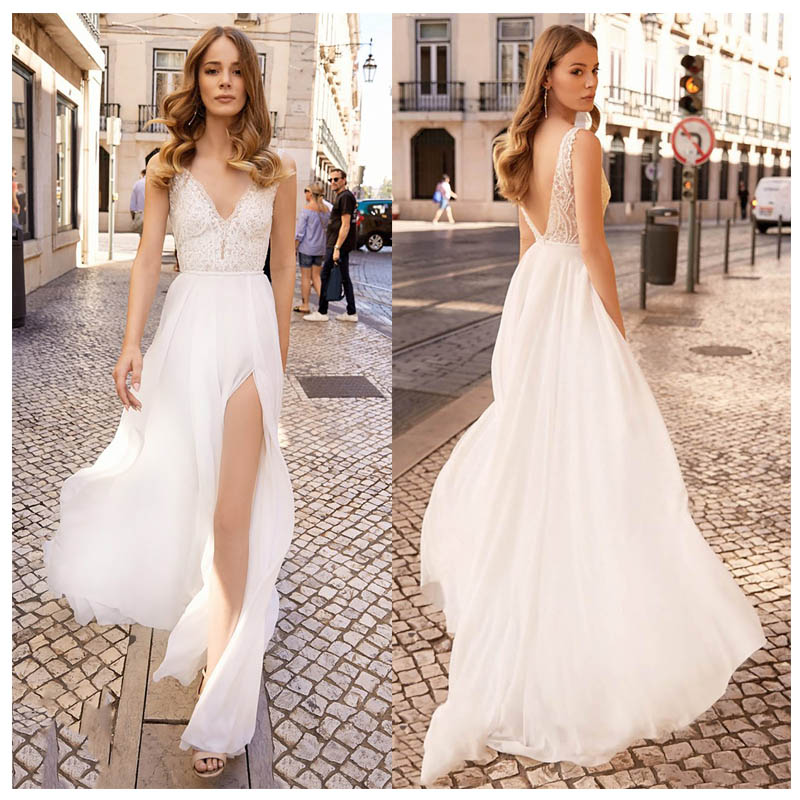 LORIE Sexy Beach Wedding Dress For Girl Side Split Appliques Boho Bride Dress Backless V Neck Floor Length Chiffon Wedding Gown