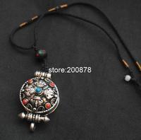 TNL229 Tibetan Silver Antiqued Cross Dorje Prayer Box Pendant Necklace Designer Original Tibet Jewelry 2014 March
