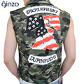 Men's casual camouflage patch design denim vest Male slim sleeveless coat Tank top Free shipping