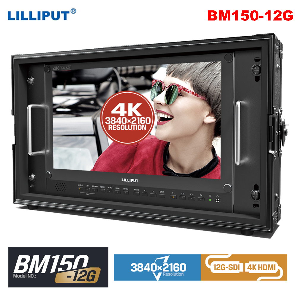 Lilliput BM150 12G 15,6 дюймов 3840*2160 12 г SDI 4 К монитор ручной клади трансляции монитор HDMI Талли для Камера 12G SDI Single Link