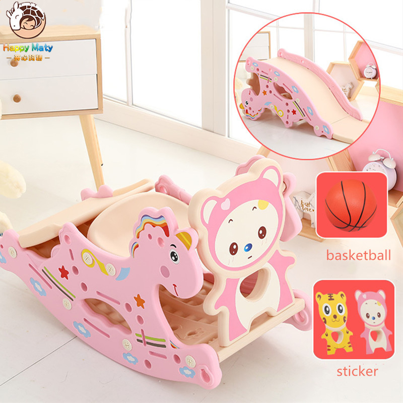 Happymaty Infant Shining Slides For Kids Rocking Horse 4 In 1 Baby Toys Children's Slides Ride Horse Toy Multifunction Birthday