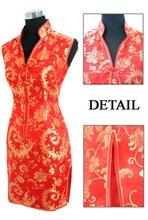 Elegant Red Ladies Satin Cheongsam Fashion Mini Qipao Novelty V-Neck Dress Flower S M L XL XXL XXXL Mujere Vestido