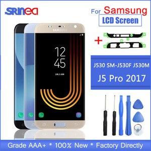 Image 1 - Samsung Galaxy için LCD J5 2017 J530 SM J530F J530M LCD ekran dokunmatik ekranlı sayısallaştırıcı grup Parlaklık Ayarı + Yapıştırıcı