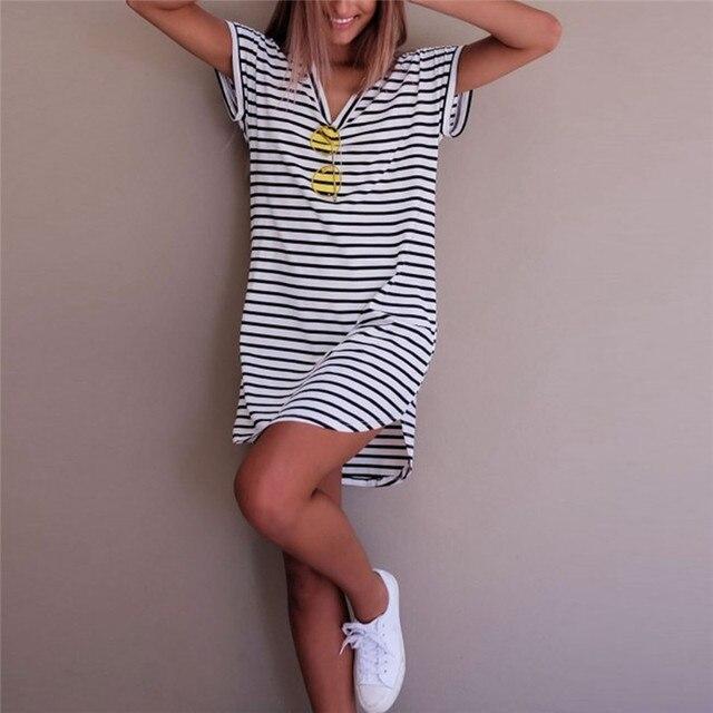 Women Casual Striped Dress O Neck Cotton Straight Long T Shirt Top Tee Boho vestido Summer Style Beach Wear Preppy Desses
