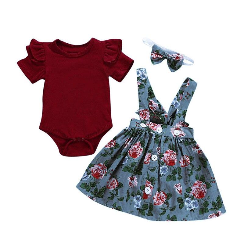 UK Infant Baby Toddler Girls Jumpsuit Romper Braces Skirt  Headband Outfits New