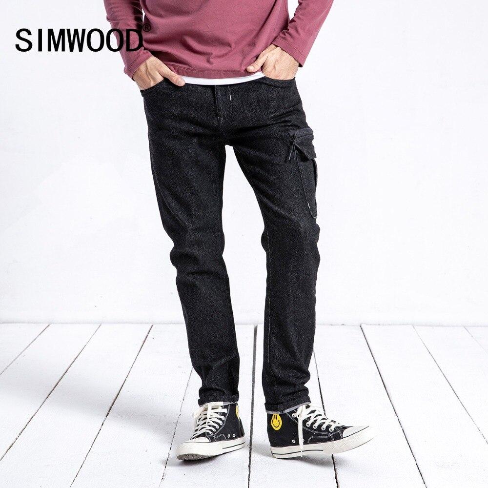 SIMWOOD Новое поступление весенние джинсы Для мужчин мода Slim Fit хлопок джинсовые штаны брюки уличная брендовая одежда Бесплатная доставка 180601