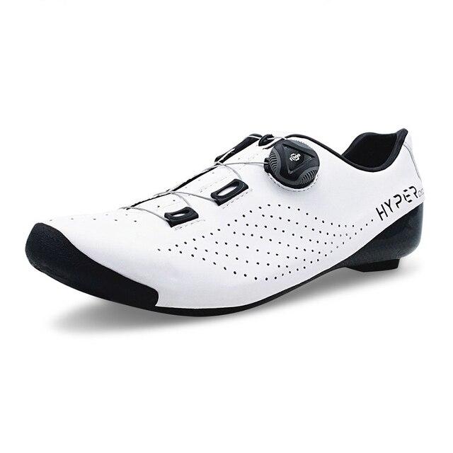 Hyper original ciclismo sapatos calor moldável 3 k fibra de carbono bicicleta de estrada tênis 1 cadarços auto-bloqueio termoplástico bicicleta 1