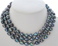 50 12mm peacock black rice freshwater cultured pearl necklace