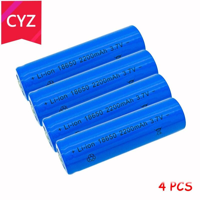 4PCS 18650 3.7V 2200mAh(Not AA) Battery Batteries Lithium Li Ion Rechargeable Large Capacity Flashlight New Power Free Shipping