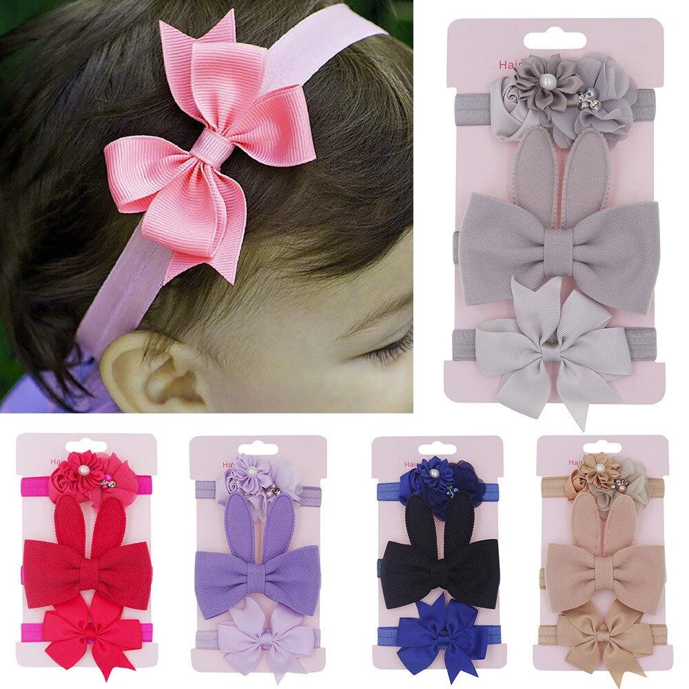 3 Stücke Kinder Baby Mädchen Blumen Stirnband Mode Bowknot Dot Gedruckt Zubehör Haarband Set Elastische Bands Headwear Stirnbänder 6 Mt -6 T