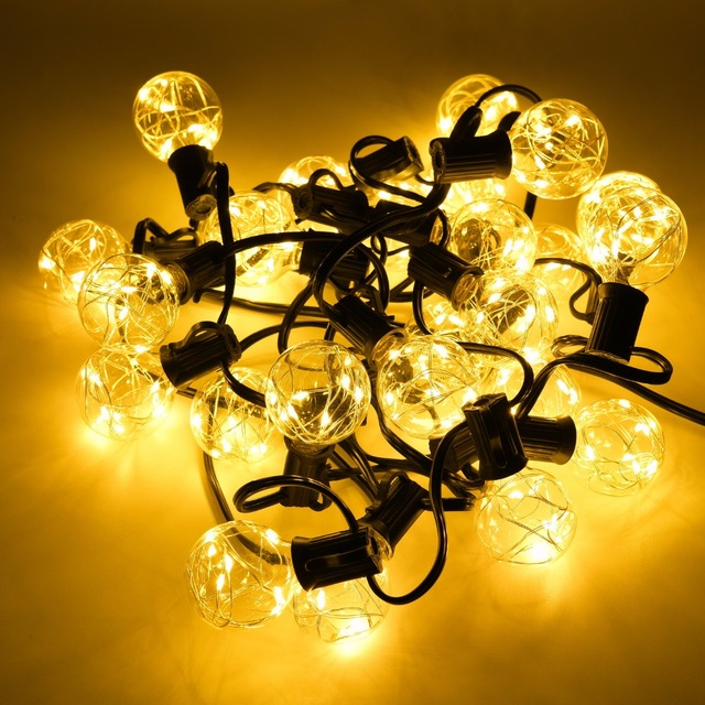 25FT G40 Globe String Lights Outdoor LED Patio Lights 25 Clear Vintage  Lamps COPPER Wire For