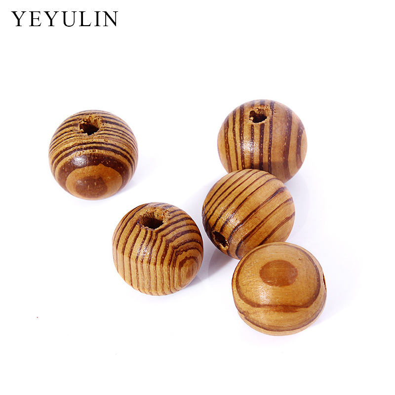 wholesale color Round Brown Oval stripe Leopard wood spacer beads