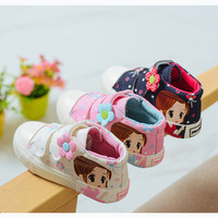Baby Girl Leisure Shoes High Canvas Cartoon Printing Kids Shoes Breathe Freely Skid Resistance Girls Shoes