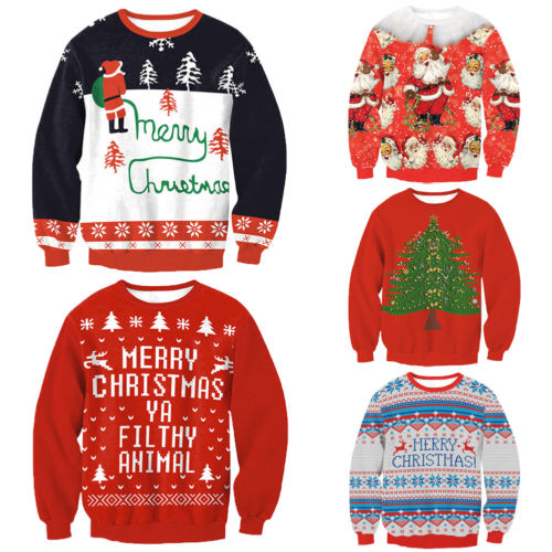 Fashion New Unisex Men Women Santa Xmas Christmas Novelty Ugly RED Retro Jumper Sweatshirts