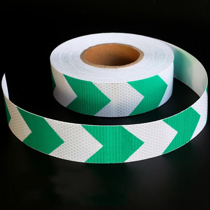 5 см * 20 м темно-зеленый и белый стрелка решетки Светоотражающие Клейкие ленты Стикеры грузовой автомобиль проезжей части парковка, знак Пре...