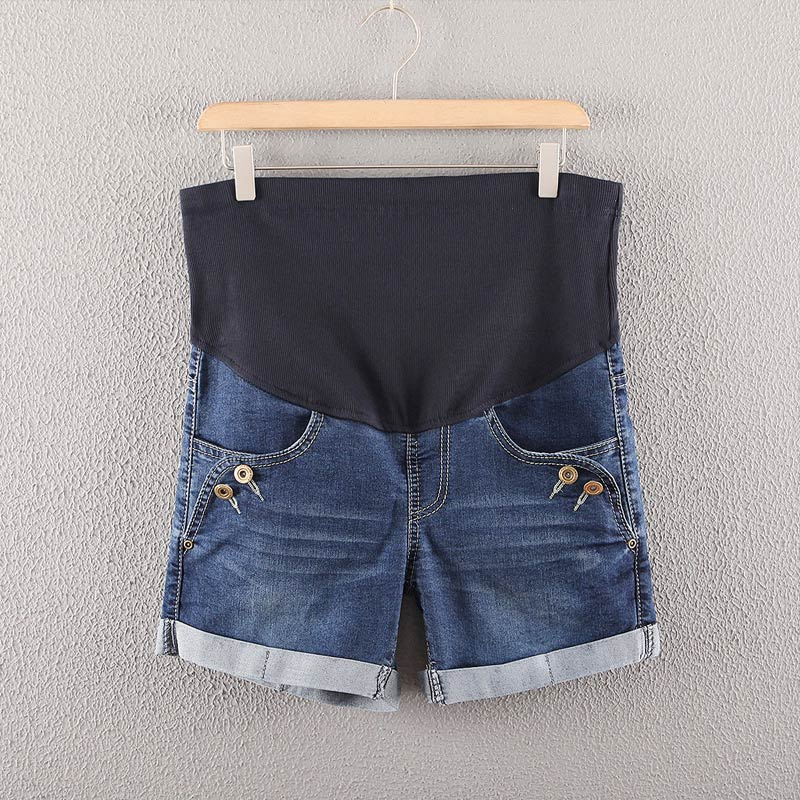 Hot Selling Summer Denim Maternity Shorts for Pregnant Women Pockets High Waist Jeans Care Belly Pants