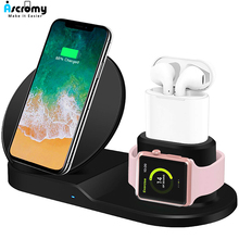 Qi Draadloze 3 in 1 houder station stand charger 7.5W Voor Iwatch 5 4 3 2 Iphone 11 Pro Max XS MAX XR Apple Horloge Airpods 1 dock