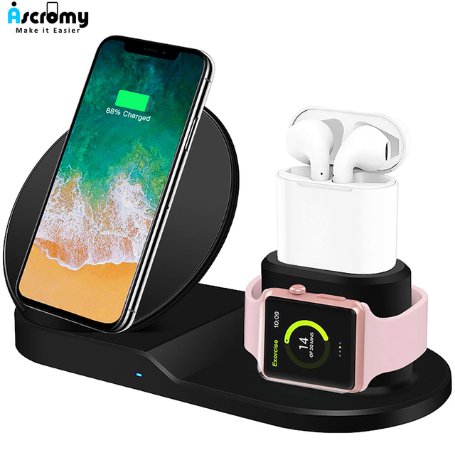 Qi Wireless 3 in 1 ผู้ถือขาตั้ง Station Charger 7.5W สำหรับ IWatch 5 4 3 2 IPhone 11 PRO MAX XS MAX XR นาฬิกา Apple Airpods 1 Dock