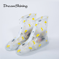 DreamShining Reusable Rain Shoes Cover Adult Children Thicken Waterproof Boots Cycle Rain Printing Flat Slip Resistant