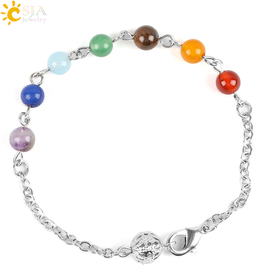 Active Csja Women Reiki Prayer Stone Summer Yoga Jewelry Link Chain Bracelet 7 Chakra Healing Point Balance & Lobster Clasp Hook E117 Pure White And Translucent