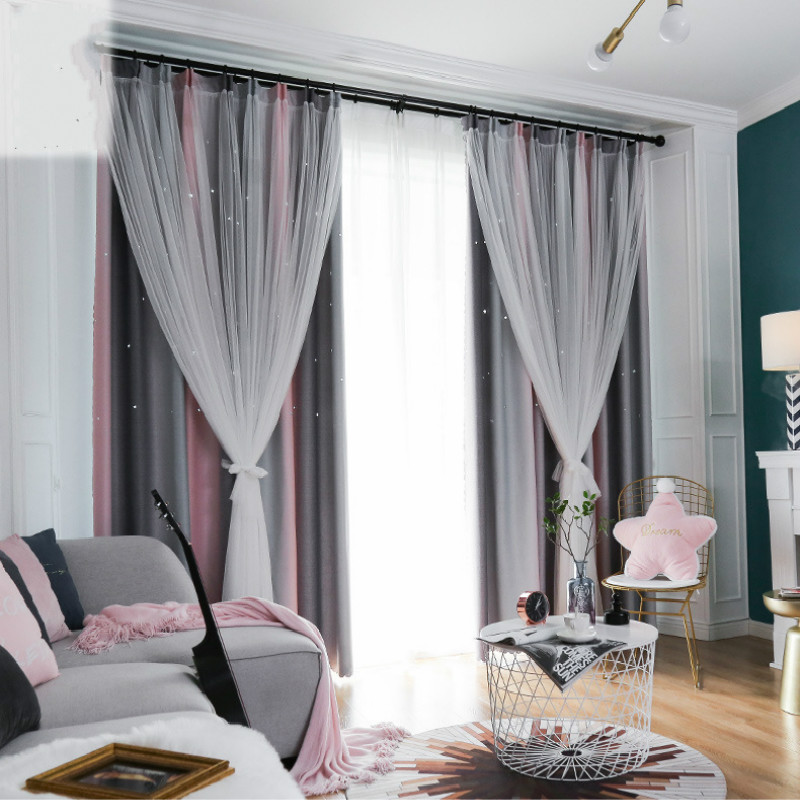 Bedroom Curtain 2 Layer Hollow Out Star Blackout Curtain Drape For Living Room Home Deco Window Treatment Cortina Panel