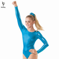 Mandy Lycra Spandex Child Gymnastics Leotards Girls Shiny Long Sleeve Leotards Kids Metallic Ballet Dance Leotards